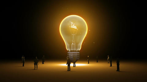 Typo 'Idea' in light bulb and surrounded businessmen, engineers, idea concept ve Animación