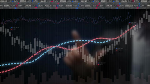 Businessman touching screen and Various animated Stock Market charts and graphs. Animation