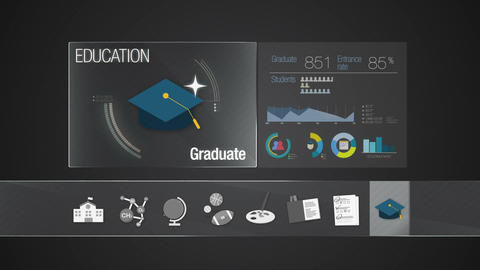 Graduate icon for Education contents.Digital display application. Education icon Animation