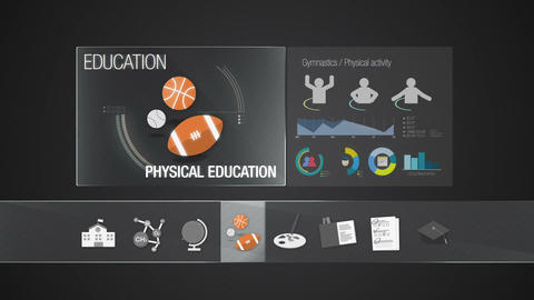 Physical education icon for Education contents.Digital display application. Educ Animation