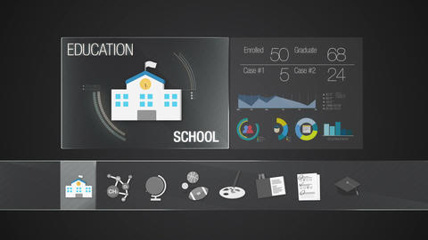 School icon for Education contents.Digital display application. Education icon Animation