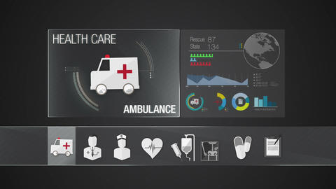 Ambulance icon for Health Care contents.Technology medical care service.Digital  Animation
