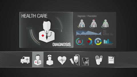 Diagnosis icon for Health Care contents.Technology medical care service.Digital Animation