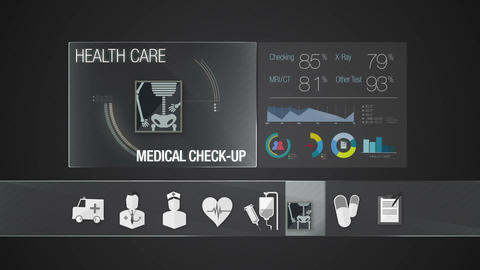 Medical check-up icon for Health Care contents.Technology medical care service.D Animation