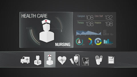 Nursing icon for Health Care contents.Technology medical care service.Digital di Animation