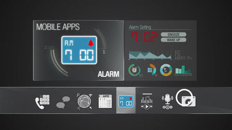 Alarm icon for mobile application contents.Various application function for smar Animation