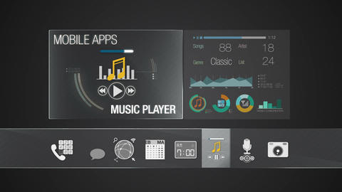 Player icon for mobile application contents.Various... Stock Video Footage