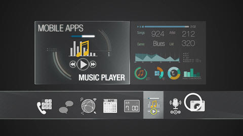 Player icon for mobile application contents.Various application function for sma Animation