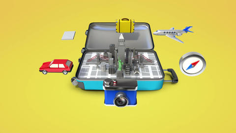 Opened a traveling bag, trunk, Prepare to travel for city, tour 2 Animation