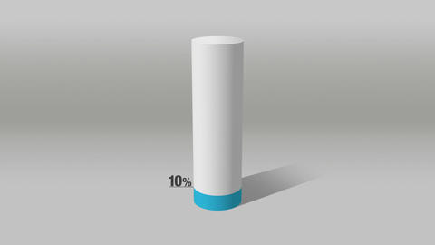Indicate about 10 percents, growing 3D Cylinder circle bar chart Animación