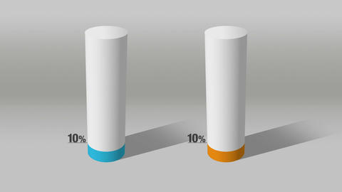 Indicate about 10 percents and 10 percent, growing 3D Cylinder circle bar chart Animation