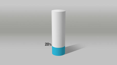 Indicate about 20 percents, growing 3D Cylinder circle bar chart Animation