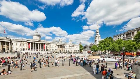 Time lapse of Trafalgar Square in London in 4K, editorial