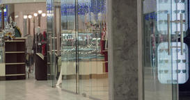 Shopping mall interior static HD video. Modern boutique glass showcase window Footage
