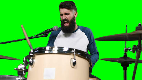 Male drumer playing drum Live Action