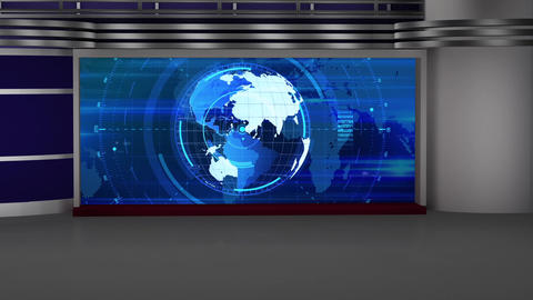 HD News-22 TV Virtual Studio Green Screen Background Blue Colour with Globe Animation