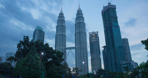 City Skyline KLCC, Day to Night Timelapse Filmmaterial