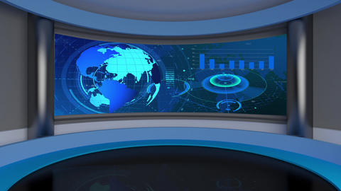 HD News-23 TV Virtual Studio Green Screen Background Red with Globe & Graph Animation
