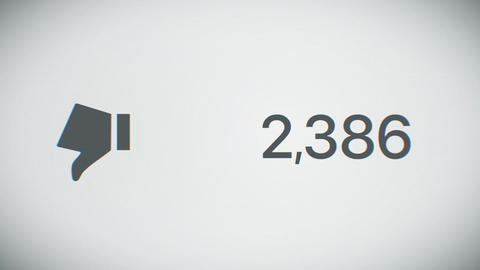 Beautiful Close-up Counter of Dislikes Quickly Increasing to One Million. 3d Ani Animation