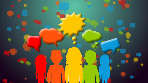 People with speech colorful bubbles Animation