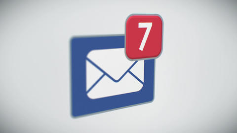 Beautiful Close-up of E-mail Inbox with Messages Counting Quickly. Many Letters  Animation