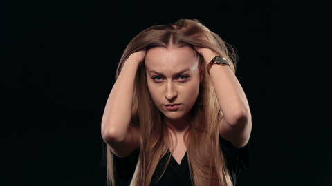 Young stressed woman thinking over problem Footage