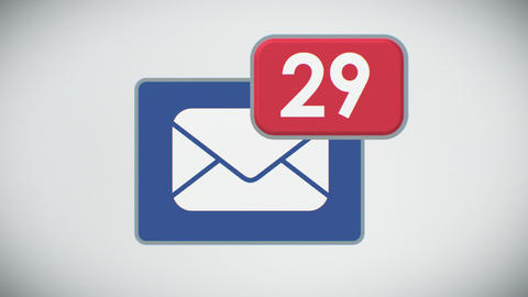 Beautiful Close-up of E-mail Inbox with Messages. Many Letters Appearing in the  Animation
