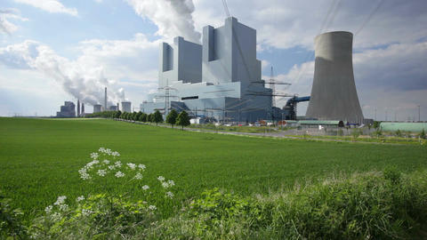 Power Stations In Green Landscape Filmmaterial