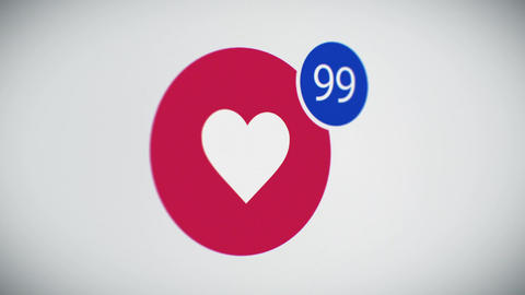 Beautiful Close-up of Social Like Button With Counter on Web Site Quickly Increa Animation
