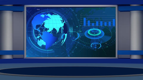 HD News-27 Virtual Studio Green Screen Background Blue Colour with Globe Animation