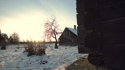 Old Wooden house in Winter Village, Shot with Dolly Slider Footage