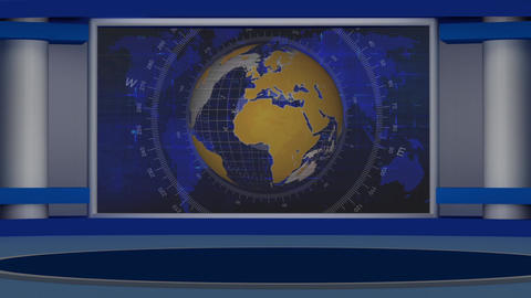 HD News-30 TV Virtual Studio Green Screen Background Blue Colour with Globe Animation