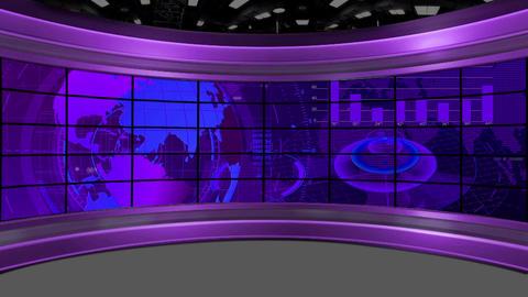 HD News-35 TV Virtual Studio Green Screen Background purple colour Animation