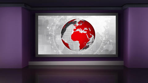 HD News-33 Virtual Studio Green Screen Background white red colour with globe Animation