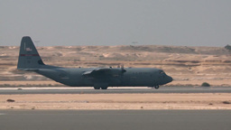 Arriving at Bahrain Airshow is a C-130 Hercules Footage
