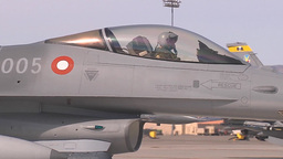 A Royal Danish Air Force F-16AM taxis to the runway for takeoff Footage