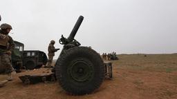 U.S. Marines , fire 120mm mortar systems Footage