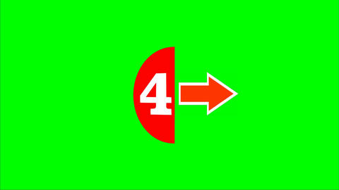 Countdown form five to zero, white number in red semicircle and arrows. FullHD v Animation