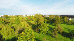 Beautiful autumn landscape. Aerial footage. Colorful fall over the city Footage