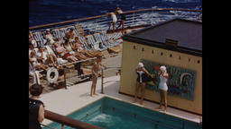 USA 1950s: Leisure Activities Aboard Cruise Ship Footage