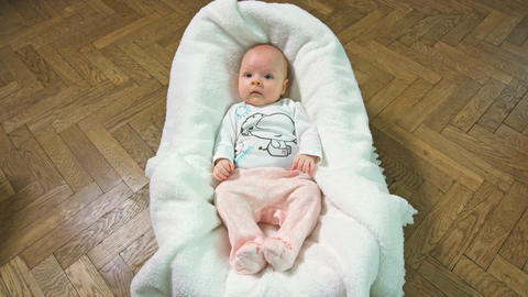 a Baby Sleeping in a Cradle Footage