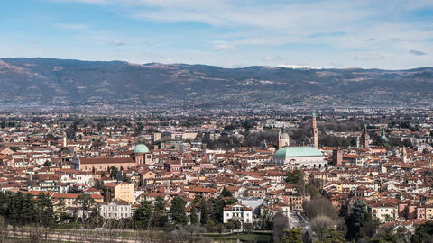 Vicenza skyline Timelapse. Panoramic view of historic Vicenza city center