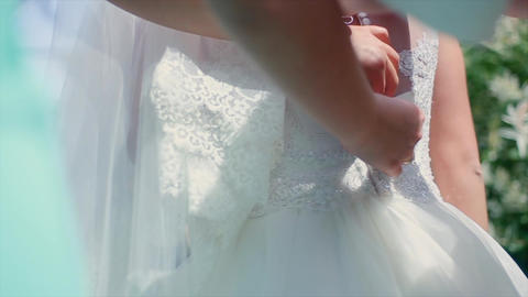 Bride Wears a Dress Footage
