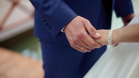 Wedding Holding Hand Couple Footage
