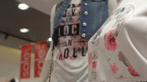 Camera Moves up along Mannequins in New Stylish Clothes Footage