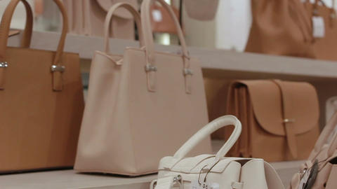 Motion to White Shelves with Beige Handbags at Fashion Store Footage