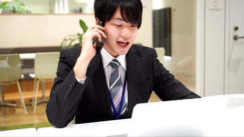 Business image (men · office · telephone) / Slow motion ビデオ