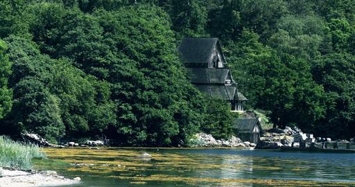 VFX Shot - Long Pan Along An Ancient Coastline With A Beautiful Viking Longboat, Footage