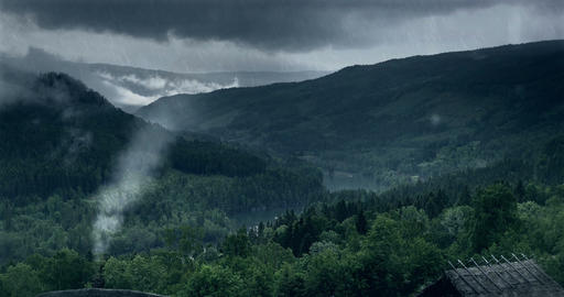 VFX Shot - Look Down Onto A Fjord And Ancient Hutts On A Rainy Day, Norway Filmmaterial