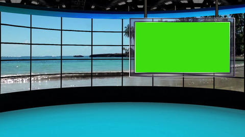 HD News-38 TV Virtual Studio Green Screen Background Beach & Monitor Animation